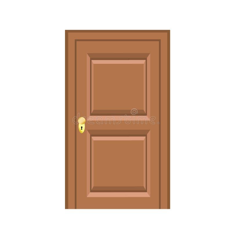 Estilo liso da porta de madeira para o projeto na ilustração branca, conservada em estoque do vetor ilustração stock