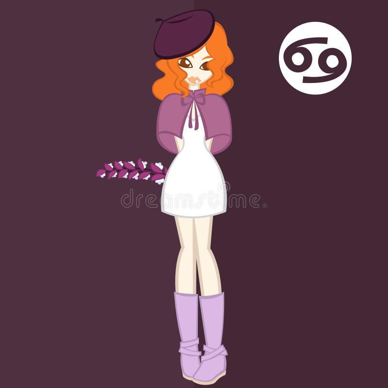 Estilo liso das meninas, flor para o ` do Câncer-Acanthus do ` do zodíaco ilustração royalty free