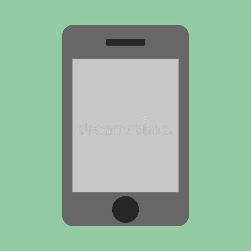Estilo liso de Grey Smartphone com ícone da tela, vetor eps10 Smartphone ou ícone cinzento do iphone do telefone celular para o ilustração stock