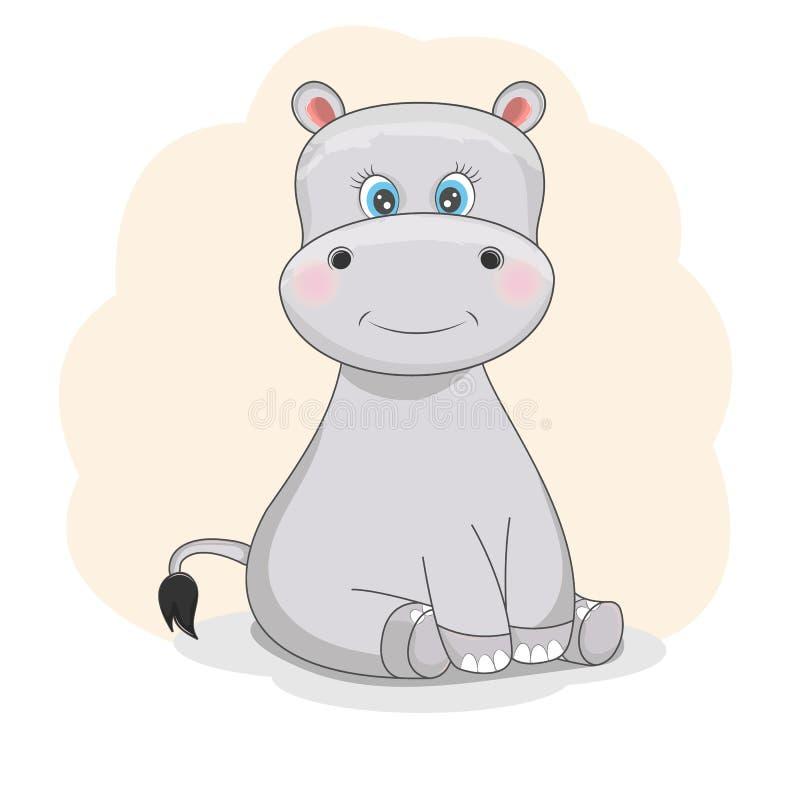 Estilo liso de um hipopótamo engraçado bonito Objetos isolados em um fundo branco ilustração royalty free