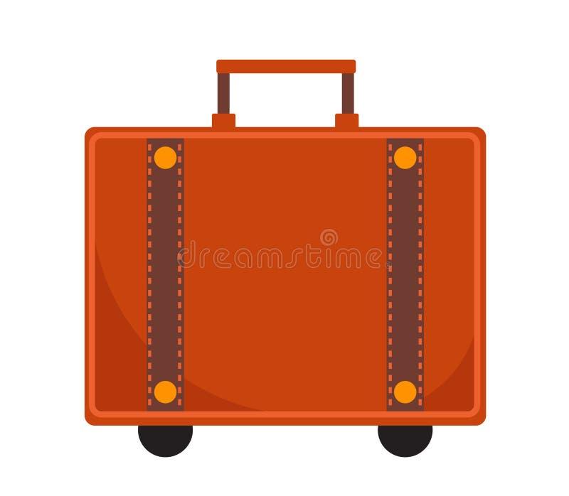 Estilo liso do ícone da mala de viagem do curso Clássico com um punho Bagagem isolada no fundo branco Ilustração do vetor ilustração stock