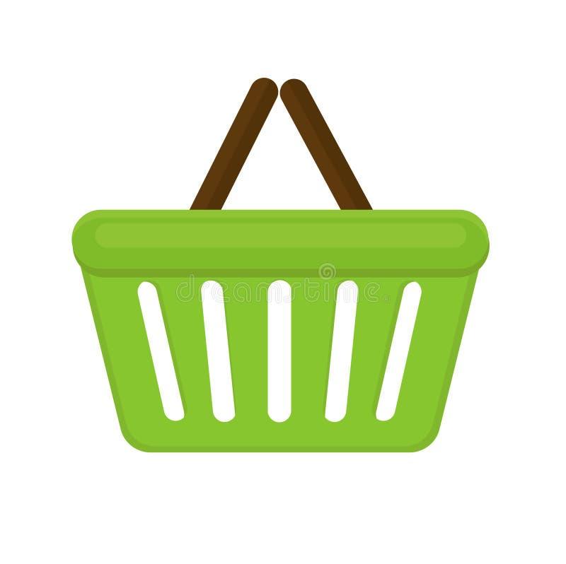 Estilo liso do ícone do cesto de compras No fundo branco saco Ilustração do vetor ilustração royalty free