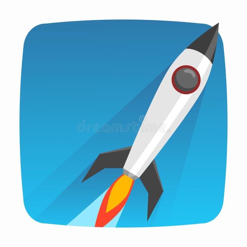 Estilo liso do ícone do lançamento de Rocket com estilo liso da sombra longa ilustração royalty free