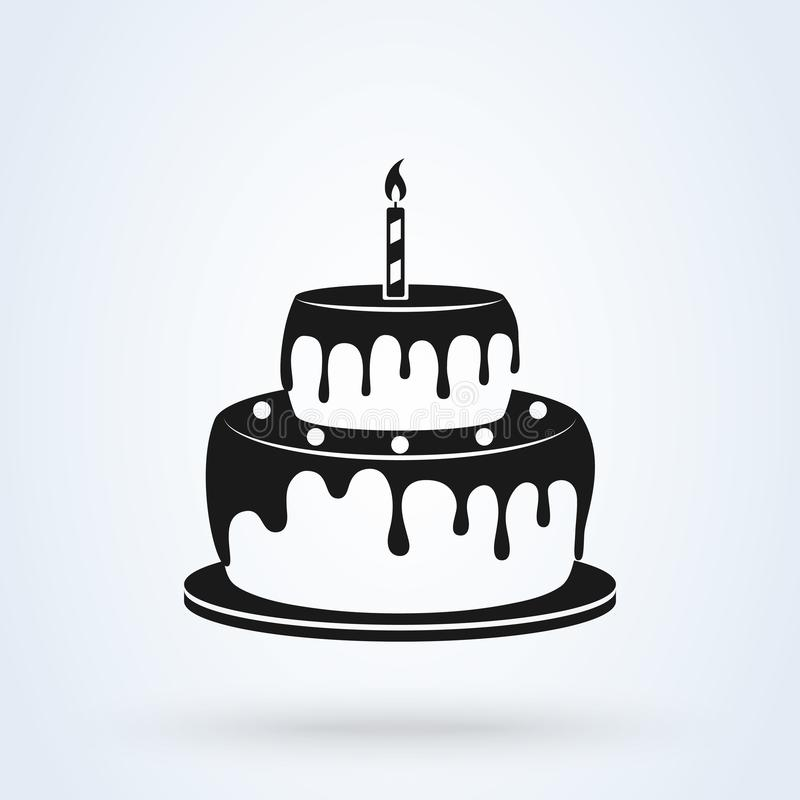 Estilo liso do bolo de aniversário ?cone isolado no fundo branco Ilustra??o do vetor ilustração stock