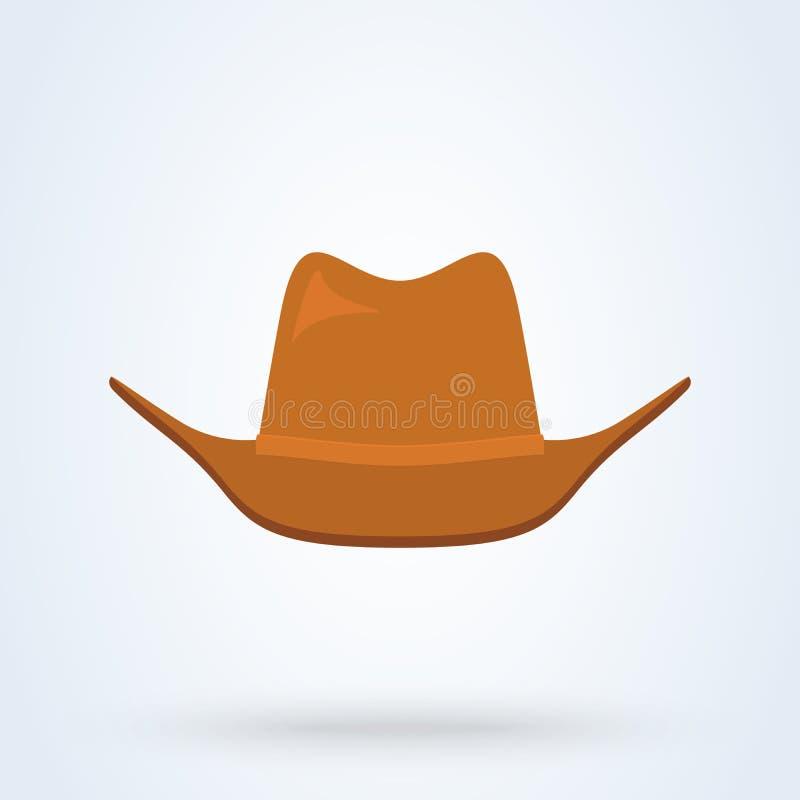 Estilo liso do chapéu de vaqueiro ?cone isolado no fundo branco Ilustra??o do vetor ilustração royalty free