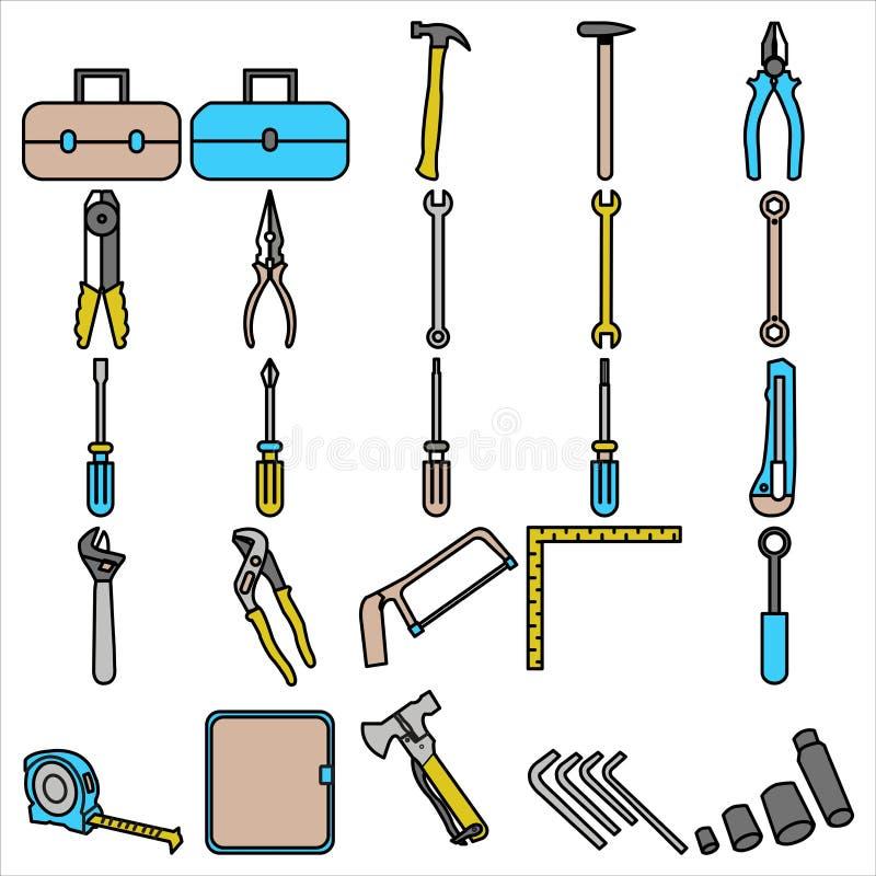 Estilo liso do esboço da cenografia do ícone do conjunto de ferramentas ilustração stock