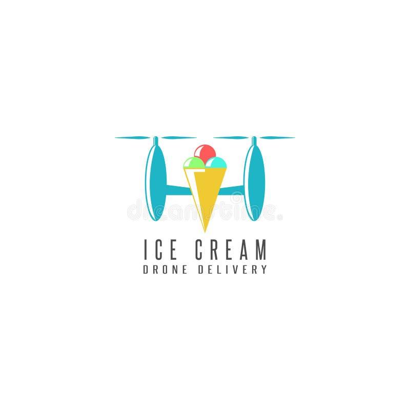 Estilo liso do logotipo do zangão da entrega do cone de gelado, helicóptero de voo com as bolas doces do puxão O conceito da part ilustração stock