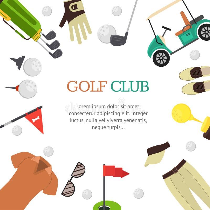 Estilo liso do projeto da bandeira do clube de golfe Vetor ilustração do vetor