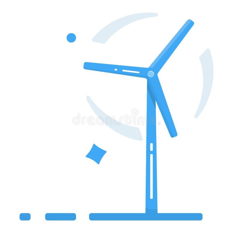 Estilo liso do projeto do gerador de vento Ícone do moinho de vento com sombra longa Moderno em cores à moda Página e móbil da si ilustração do vetor