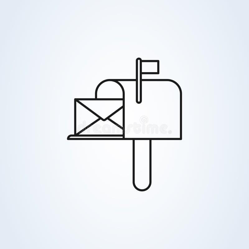 Estilo liso do s?mbolo da caixa postal Linha ?cone da ilustra??o do vetor da arte isolado no fundo branco ilustração stock