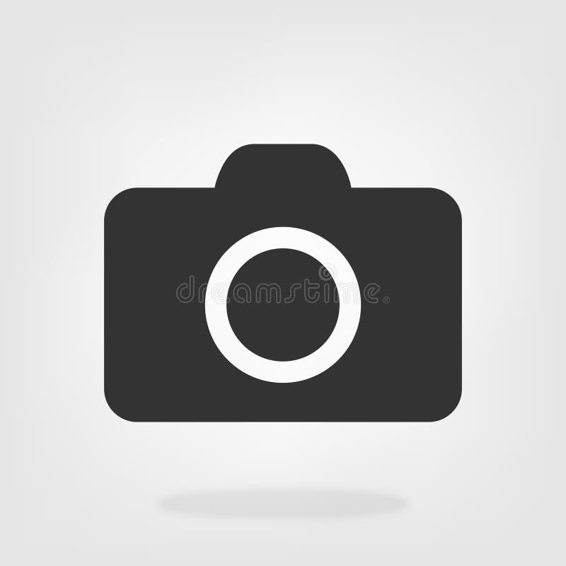 Estilo liso do vetor do ícone da câmera isolado no fundo cinzento Símbolo para seu projeto da site, logotipo da câmera, app, UI I ilustração do vetor