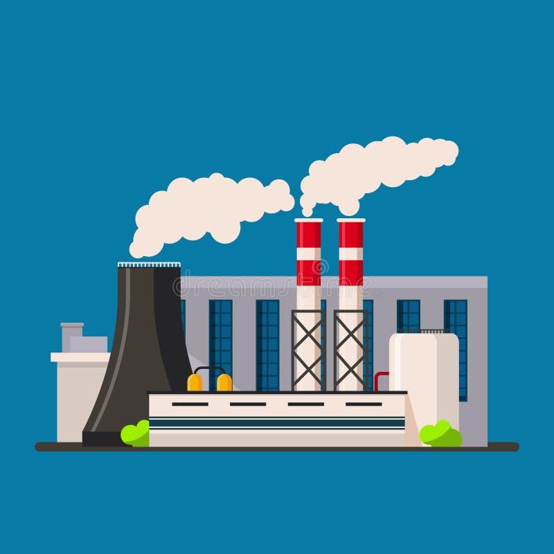 Estilo liso do vetor do ícone da construção da fábrica Construções da fabricação ilustração do vetor