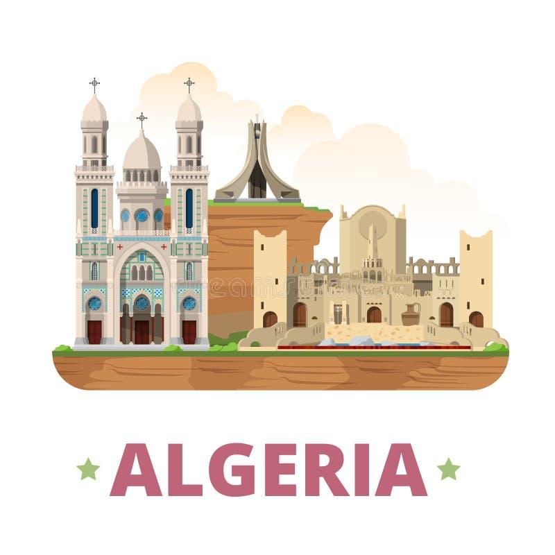 Estilo liso dos desenhos animados do molde do projeto do país de Argélia ilustração stock
