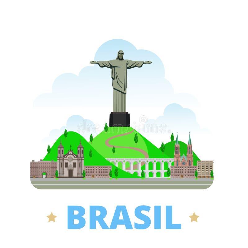 Estilo liso dos desenhos animados do molde do projeto do país de Brasil ilustração royalty free