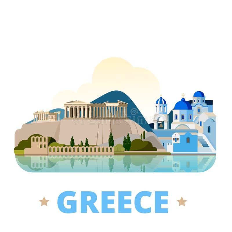 Estilo liso dos desenhos animados do molde do projeto do país de Grécia ilustração royalty free