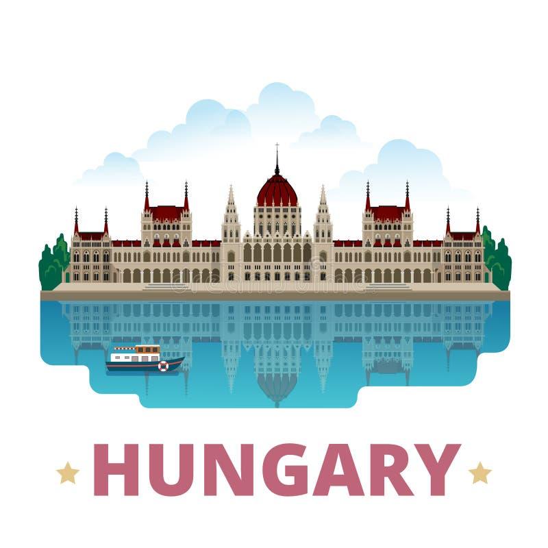 Estilo liso dos desenhos animados do molde do projeto do país de Hungria ilustração royalty free