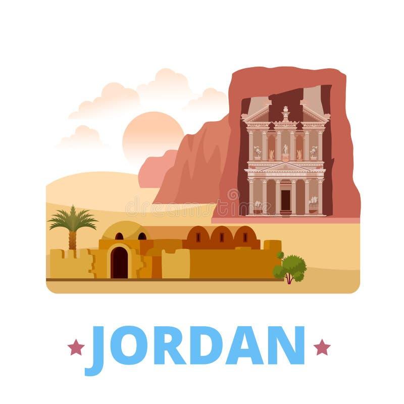 Estilo liso dos desenhos animados do molde do projeto do país de Jordânia ilustração stock