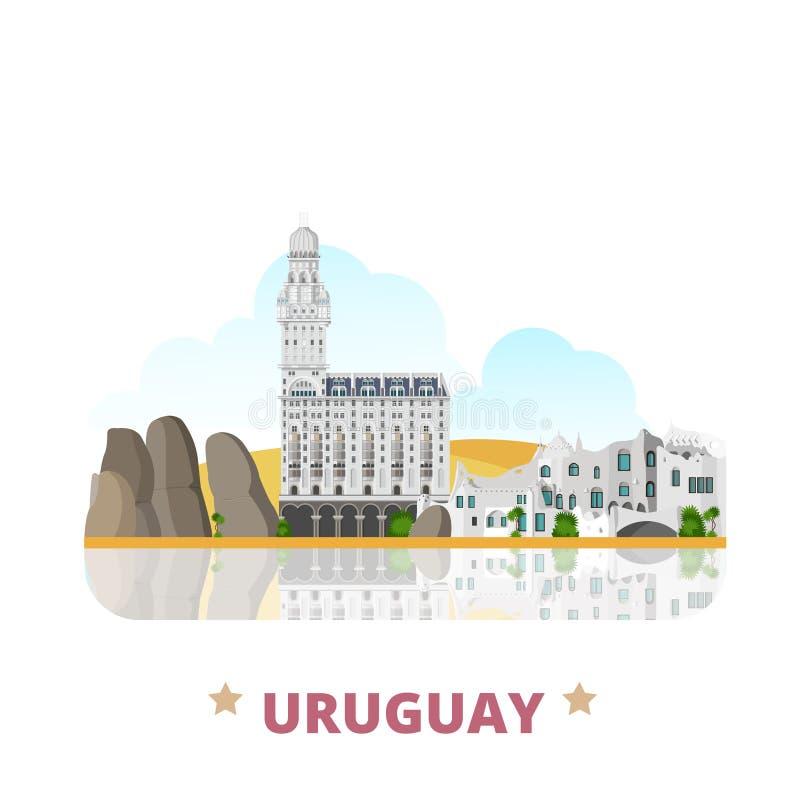 Estilo liso dos desenhos animados do molde do projeto do país de Uruguai ilustração royalty free