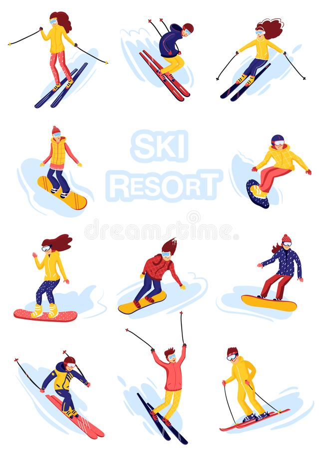 Estilo liso dos desenhos animados dos esquiadores e dos snowboarders do vetor Homens e mulheres na estância de esqui Atividade do ilustração stock