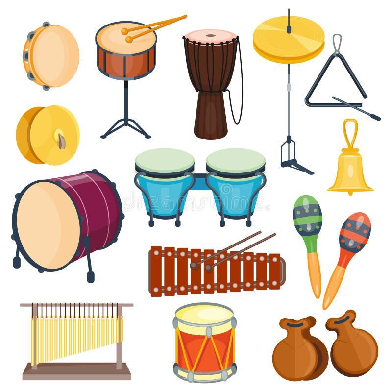 Estilo liso dos instrumentos musicais da percussão do vetor ilustração do vetor