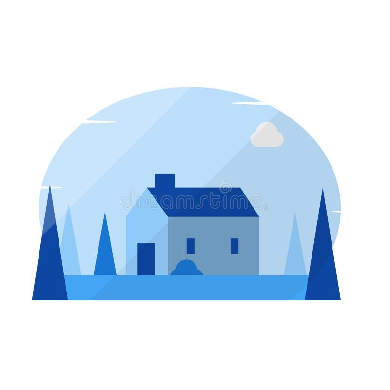 Estilo liso geométrico mínimo da casa simples ilustração royalty free