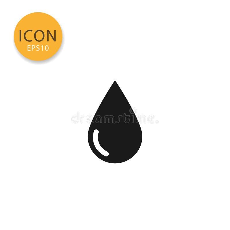 Estilo liso isolado ícone da gota da água ilustração royalty free