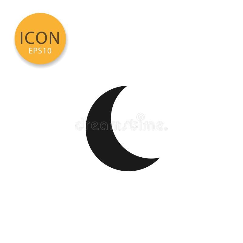 Estilo liso isolado ícone da lua ilustração royalty free