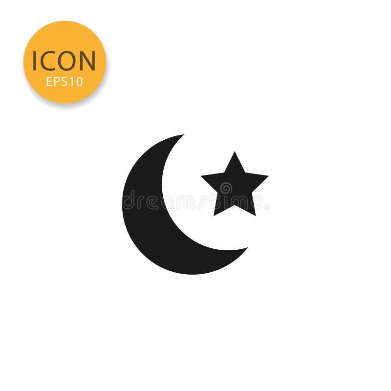 Estilo liso isolado ícone da lua e da estrela ilustração stock