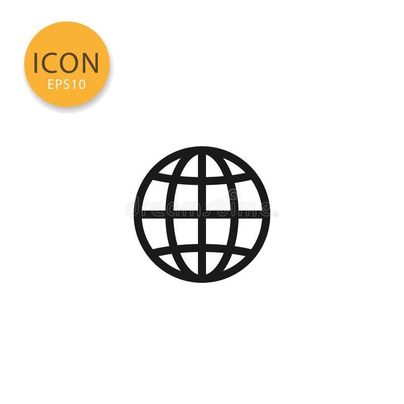 Estilo liso isolado ícone do globo ilustração stock