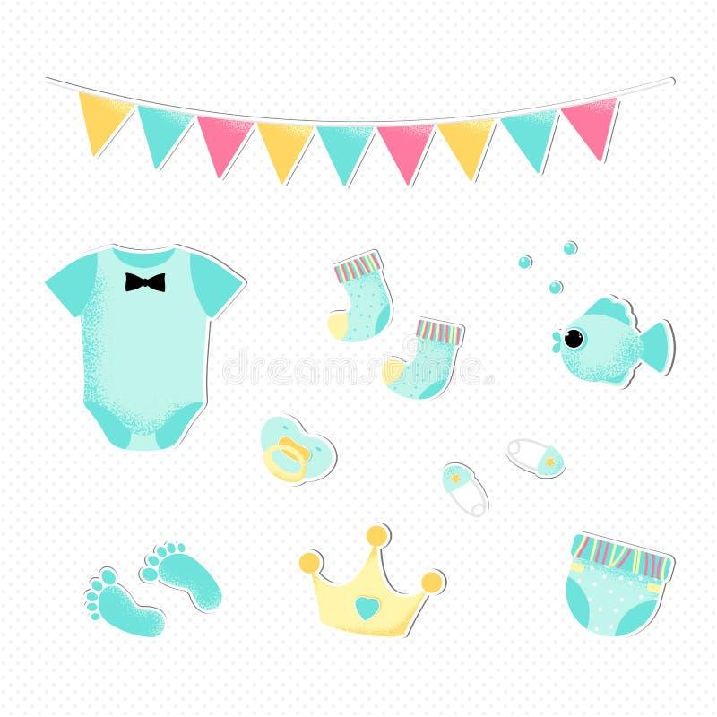 Estilo liso para uma festa do beb? do menino ilustração royalty free
