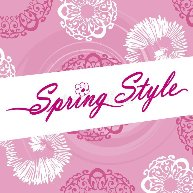 Estilo Logo Pink Ornate Flower Swirls da mola ilustração stock