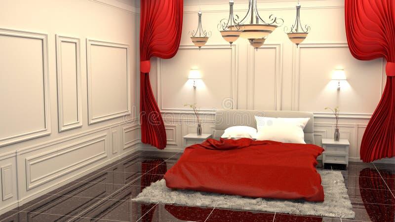 Estilo luxuoso da sala da cama da elegância rendi??o 3d ilustração stock