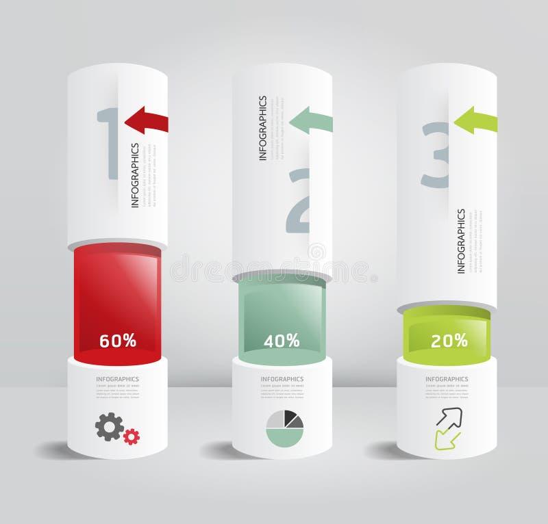 Estilo mínimo de la caja de la plantilla de Infographic del diseño moderno del cilindro ilustración del vector
