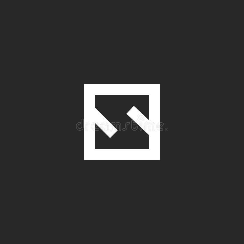 Estilo mínimo del monograma del logotipo de la letra S Maqueta inicial linear del emblema de la forma geométrica cuadrada del mar ilustración del vector