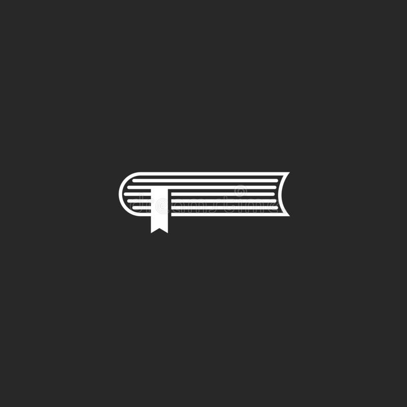 Estilo mínimo do livro simples do logotipo, enciclopédia do esboço com fita do marcador, ícone do caderno ilustração stock