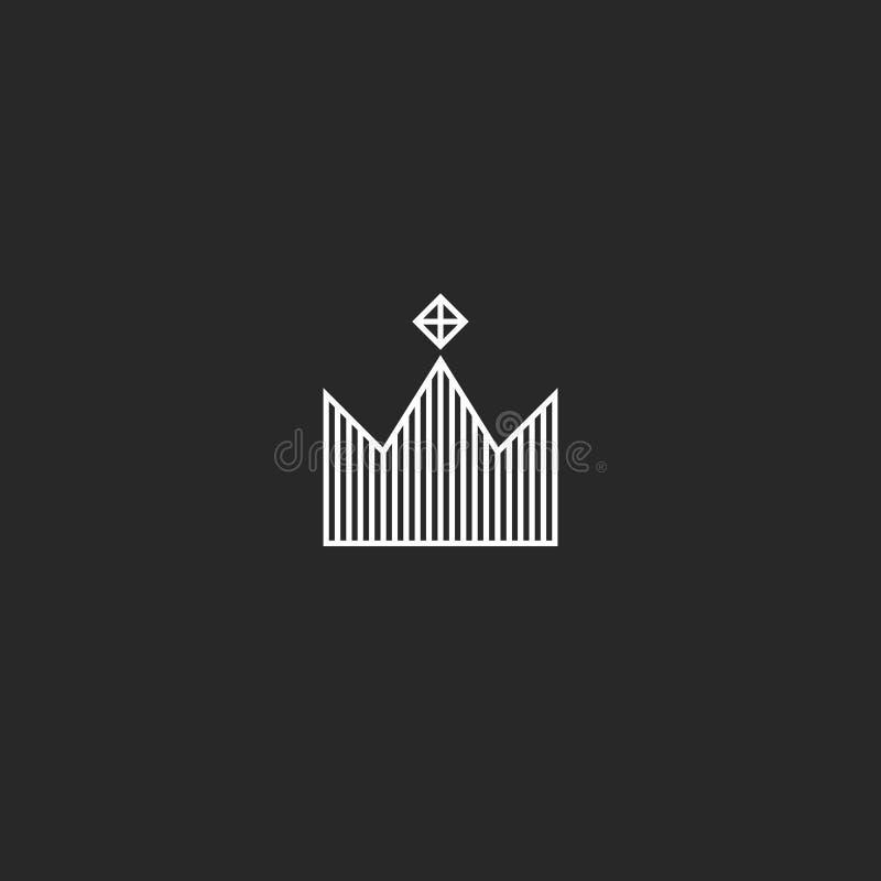 Estilo mínimo do monograma do logotipo da coroa do rei, tiara com símbolo real linear simples da joia da gema ilustração do vetor
