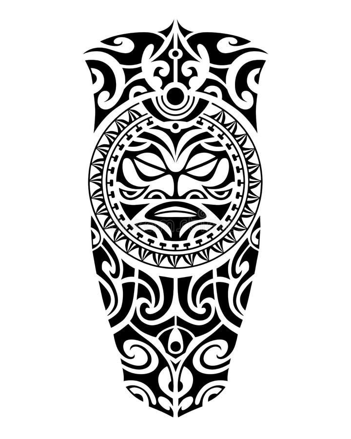 Estilo maori do esboço da tatuagem com para pé ou ombro ilustração do vetor