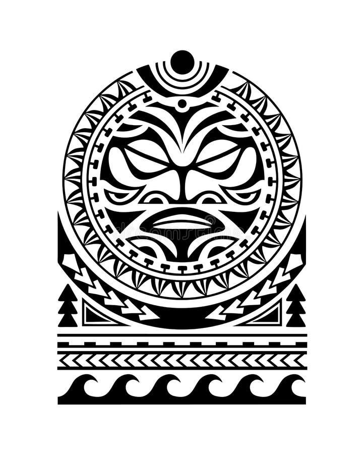 Estilo maori do esboço da tatuagem para a cara do sol do ombro ilustração do vetor