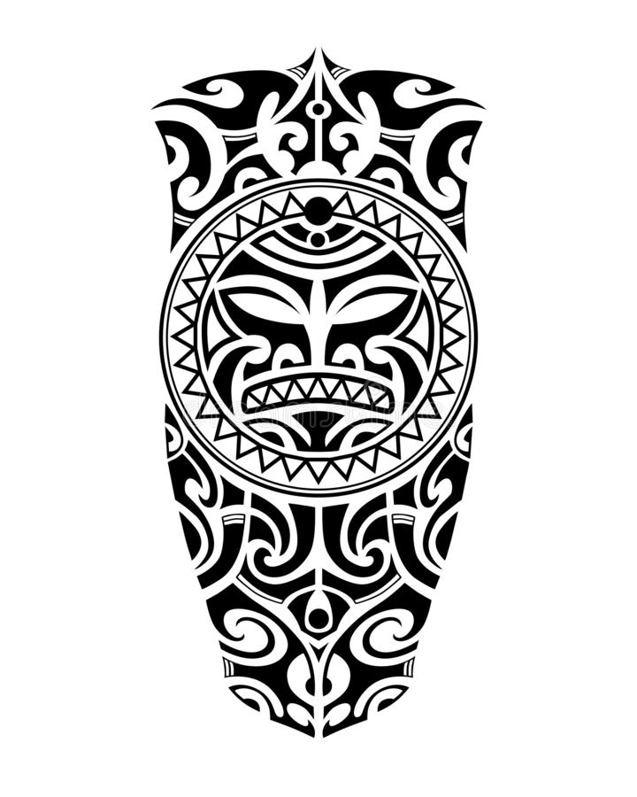 Estilo maori do esboço da tatuagem para o pé ou o ombro ilustração royalty free