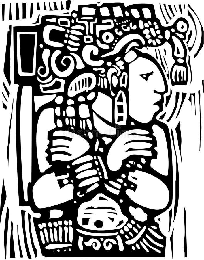 Estilo maya 3 del grabar en madera stock de ilustración