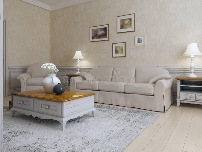 Estilo mediterráneo de la sala de estar libre illustration
