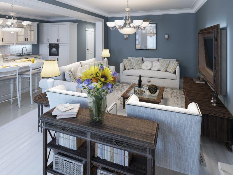 Estilo mediterráneo de la sala de estar con las paredes azules ilustración del vector