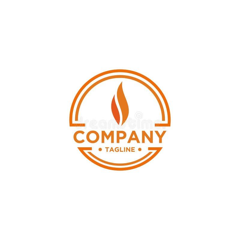 Estilo minimalista simples do projeto do logotipo da chama ilustração royalty free
