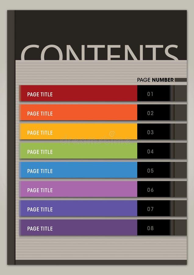 Estilo moderno cuadrado de la disposición de página de contenido imágenes de archivo libres de regalías