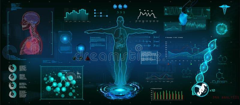 Estilo moderno de HUD do exame médico ilustração do vetor