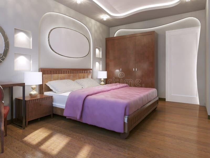 Estilo moderno del dormitorio fabuloso stock de ilustración