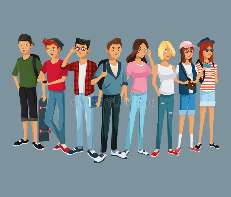 Estilo moderno del estudiante de la moda del grupo de las adolescencias ilustración del vector