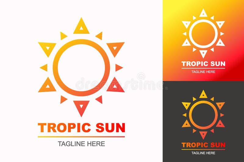 Estilo moderno determinado de la pendiente del logotipo tropical del sol para la empresa del viaje, libre illustration