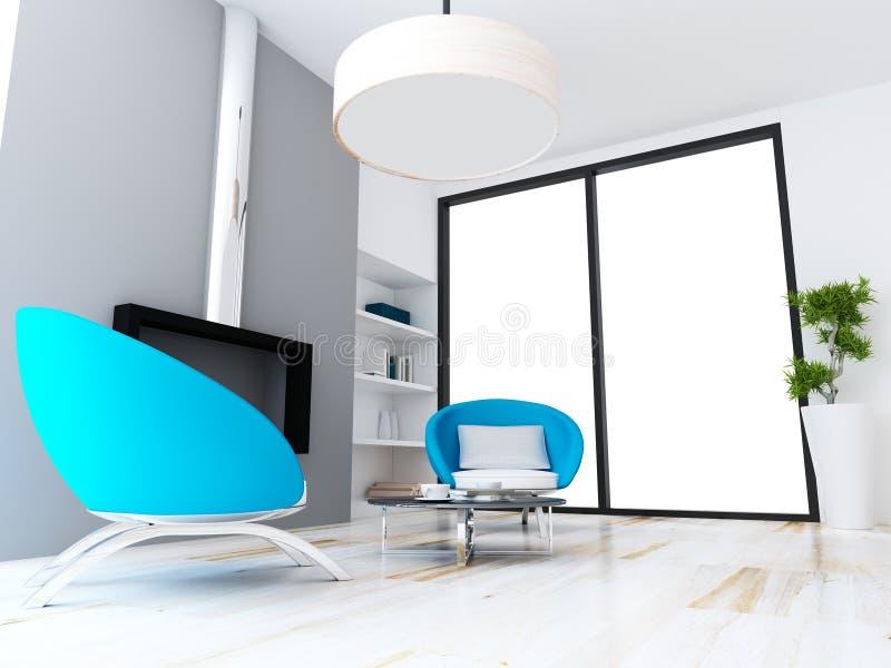 Estilo moderno do conceito de design de interiores da sala de visitas ilustração royalty free
