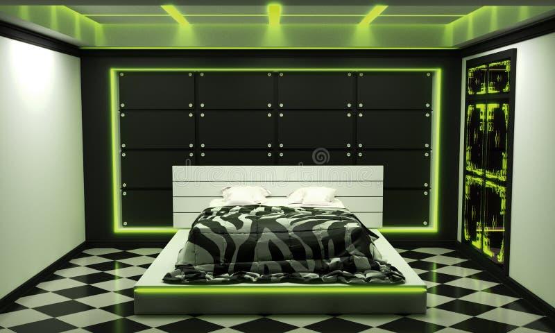 Estilo moderno interior da sala ascendente trocista da cama do conceito da ficção científica - luz verde rendi??o 3d ilustração do vetor